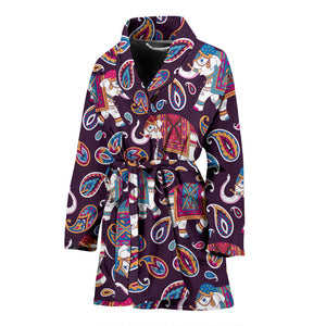 Elephant indian style ornament pattern Women's Bathrobe