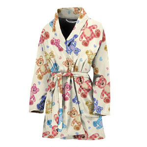 Teddy Bear Pattern Print Design 05 Women's Bathrobe