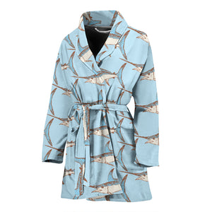 Swordfish Pattern Print Design 01 Women's Bathrobe