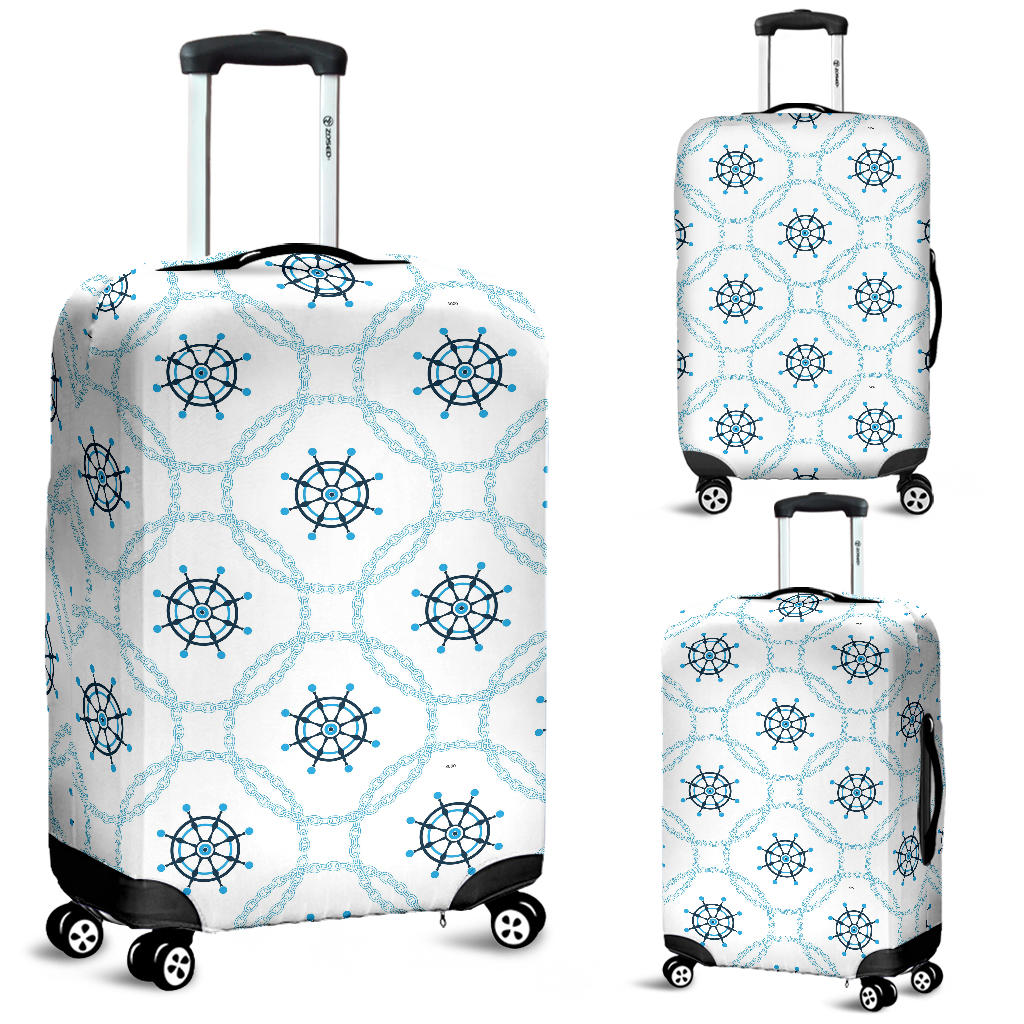 Nautical Steering Wheel Chain Luggage Covers