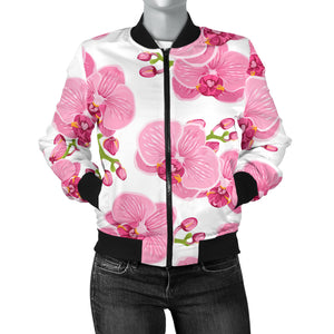 pink purple orchid pattern background Women's Bomber Jacket