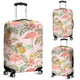 Pink Flamingo Birds Pineapples Hibiscus Flower Pattern Luggage Covers
