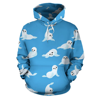 Cute Sea Lion Seal Pattern Background Men Women Pullover Hoodie