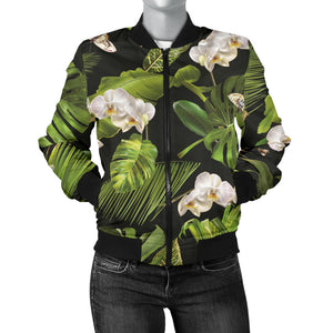 White Orchid Flower Tropical Leaves Pattern Blackground Women'S Bomber Jacket