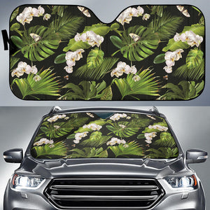 White orchid flower tropical leaves pattern blackground Car Sun Shade