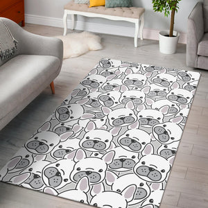 Cute french bulldog head pattern Area Rug
