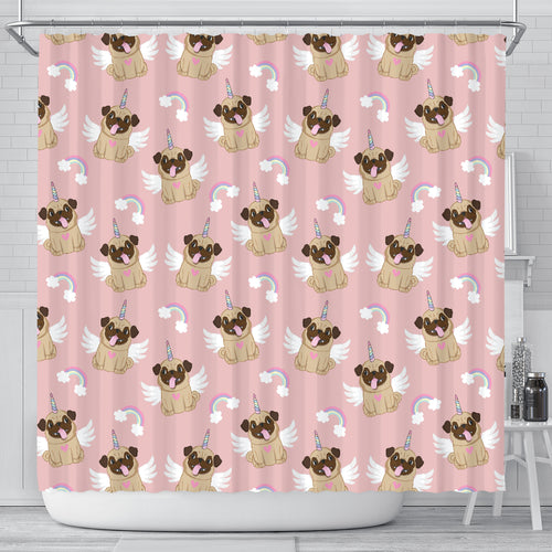 Cute Unicorn Pug Pattern Shower Curtain Fulfilled In US