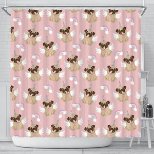 Cute unicorn pug pattern Shower Curtain
