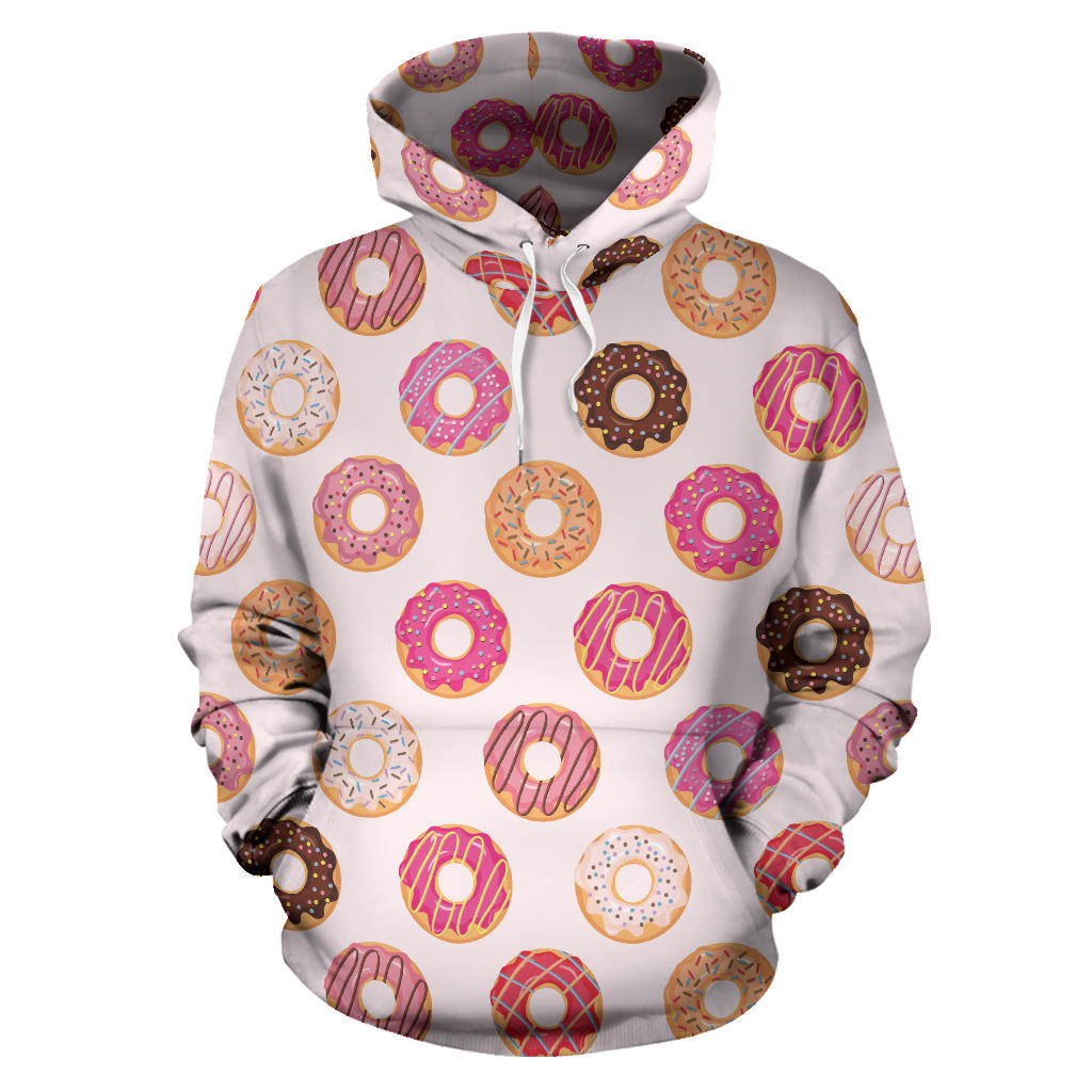 Colorful Donut Pattern Men Women Pullover Hoodie