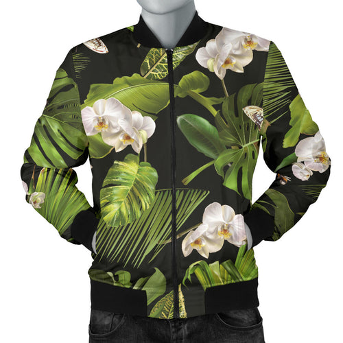 White orchid flower tropical leaves pattern blackground Men's Bomber Jacket
