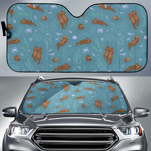 Sea otters pattern Car Sun Shade