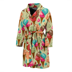 Colorful ice cream pattern Men's Bathrobe