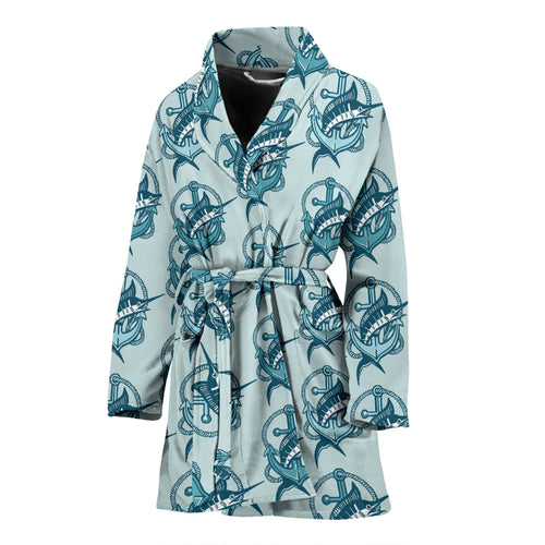Swordfish Pattern Print Design 05 Women's Bathrobe