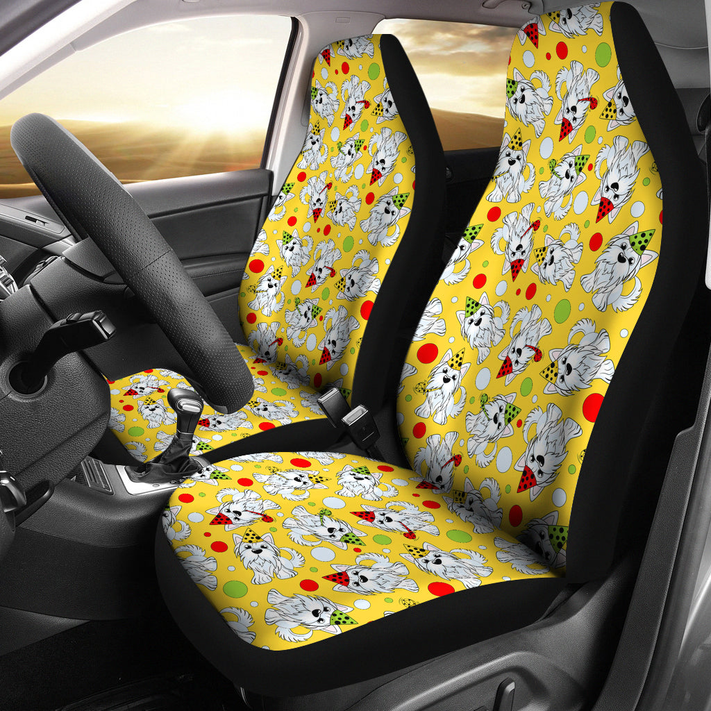 Yorkshire Terrier Pattern Print Design 05 Universal Fit Car Seat Covers