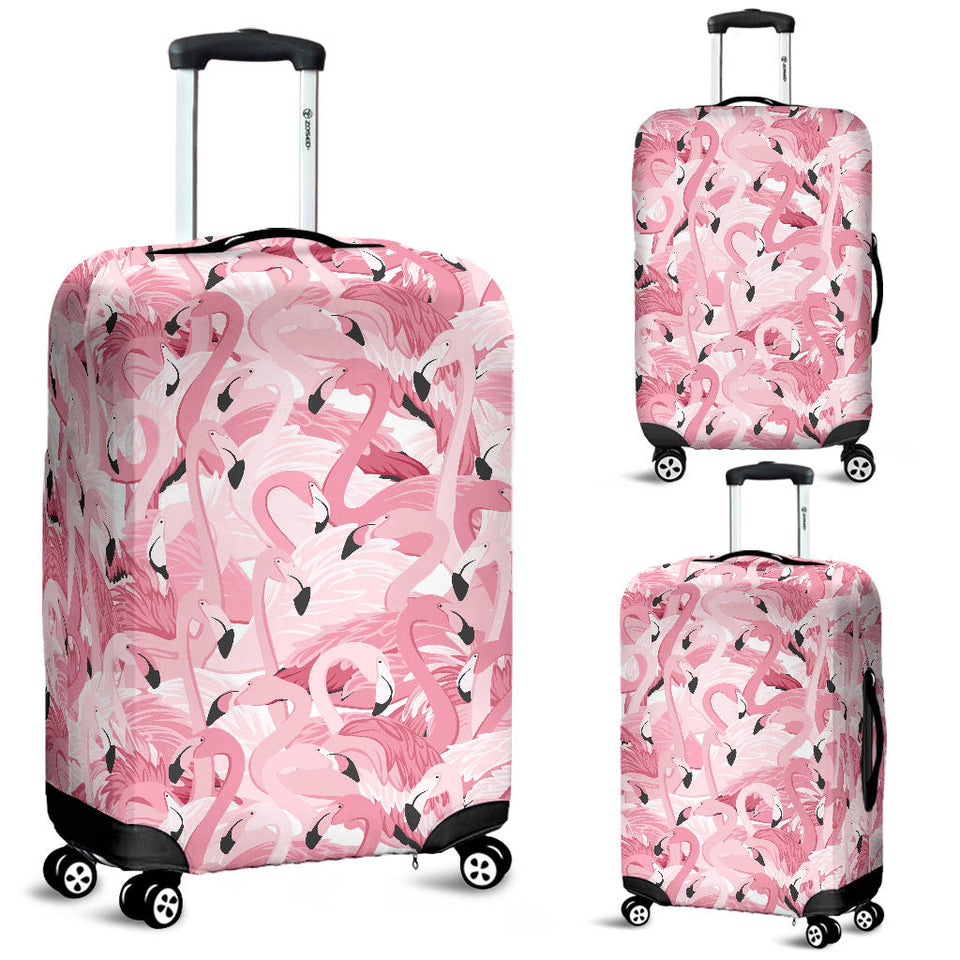 Pink Flamingos Pattern Background Luggage Covers