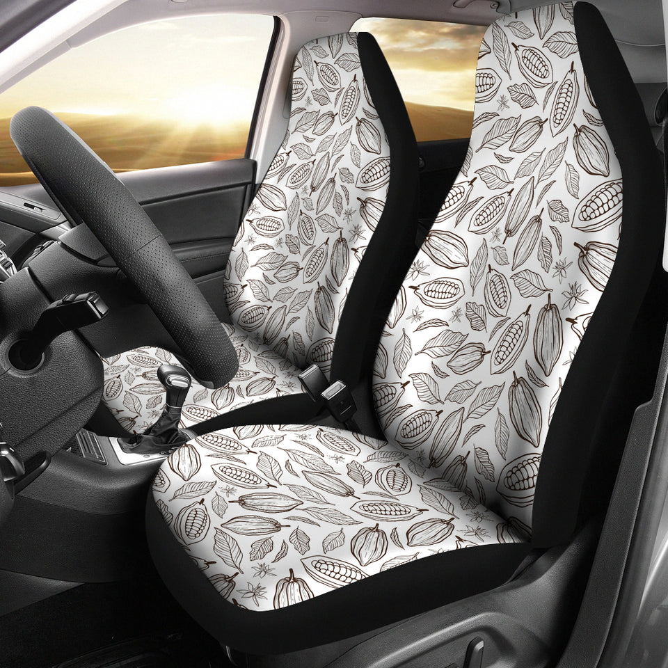 Cocoa beans leaves pattern  Universal Fit Car Seat Covers