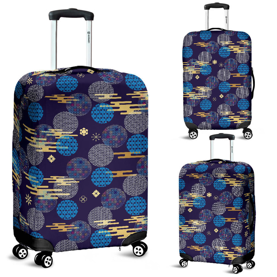 Blue Japanese Pattern Cloud Wave Flower Luggage Covers
