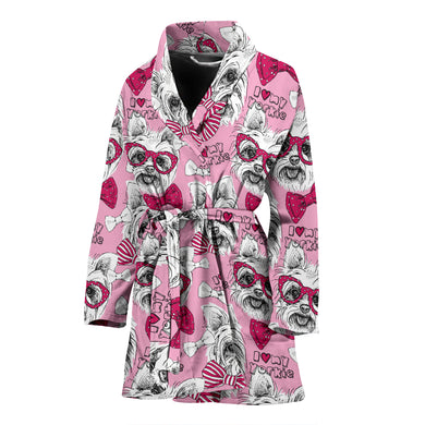 Yorkshire Terrier Pattern Print Design 03 Women's Bathrobe