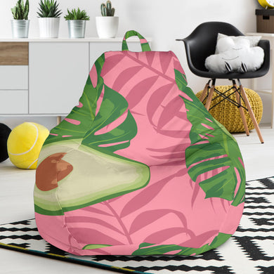 Avocado slices leaves pink back ground Bean Bag Chair
