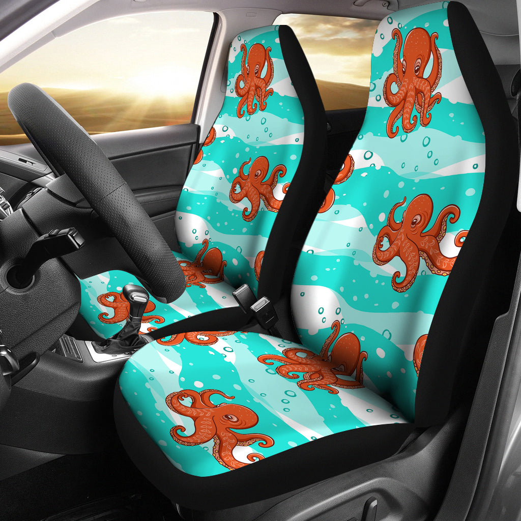 Octopuses sea wave background Universal Fit Car Seat Covers
