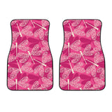 Beautiful Dragonfly Pink Background Front Car Mats