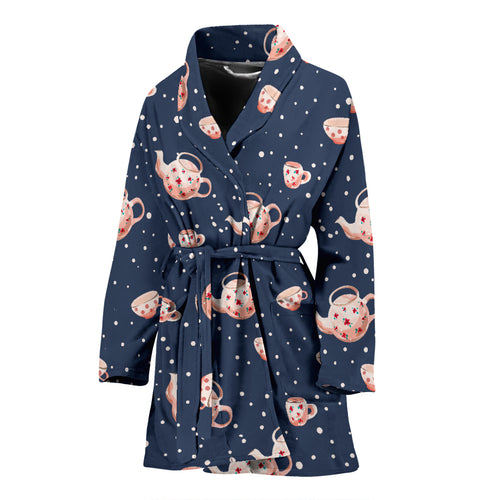 Tea Pots Pattern Print Design 04 Women's Bathrobe