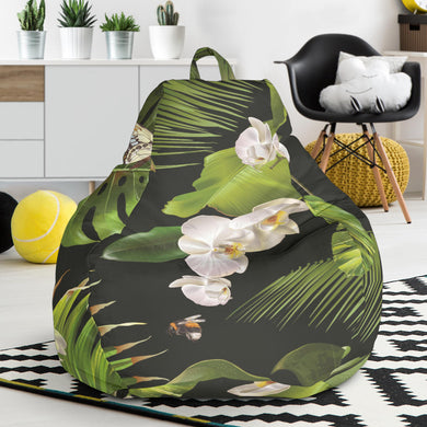 White orchid flower tropical leaves pattern blackground Bean Bag Chair