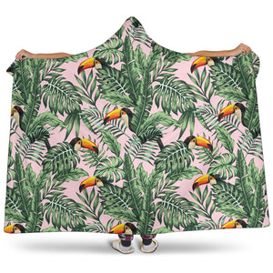 Toucan Tropical Green Jungle Palm Pattern Hooded Blanket