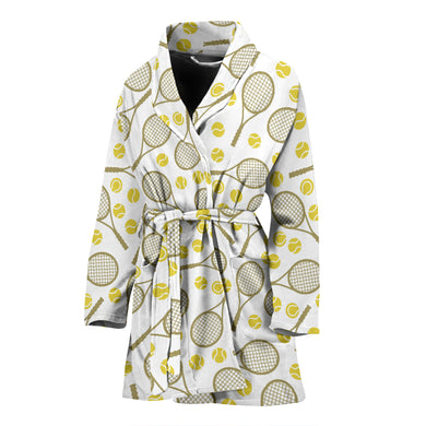 Tennis Pattern Print Design 02 Women's Bathrobe
