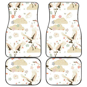 Beautiful Japanese cranes pattern Front and Back Car Mats