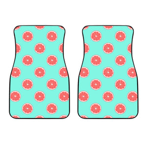 Grapefruit green background Front Car Mats