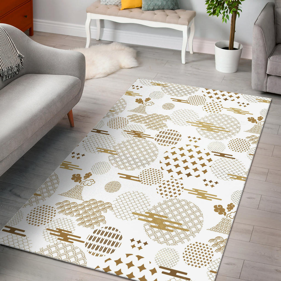 Beautiful Gold Japanese Pattern Area Rug