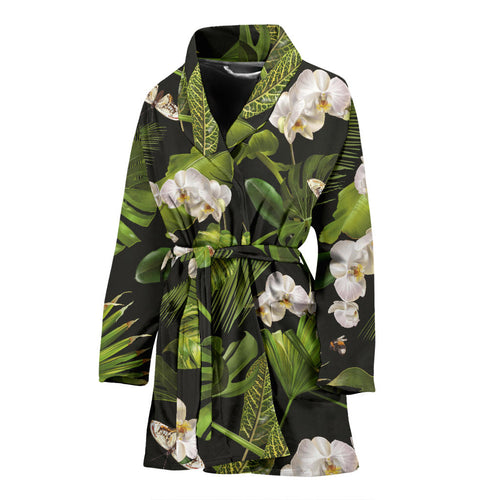 White orchid flower tropical leaves pattern blackground Women's Bathrobe