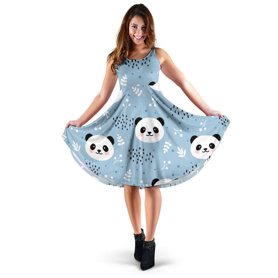 Cute Panda Pattern Sleeveless Midi Dress