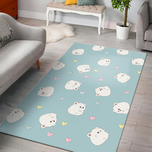 White cute hamsters heart pattern Area Rug