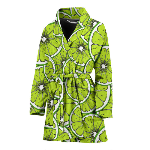 Slices of Lime design pattern Women's Bathrobe