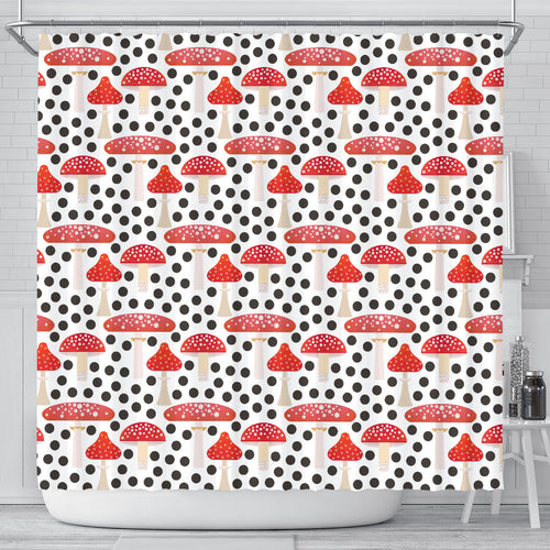 Red mushroom dot pattern Shower Curtain