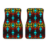 Fire Colors And Turquoise Front Car Mats (Set Of 2)