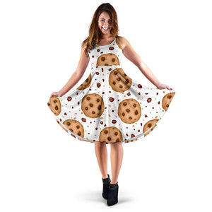 chocolate chip cookie pattern Sleeveless Midi Dress