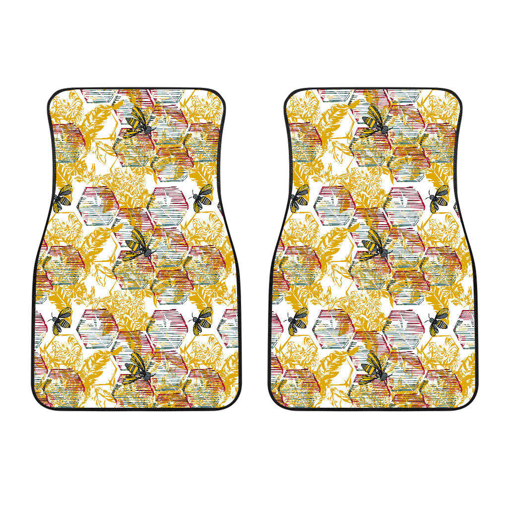 Cool Bee Honeycomb Leaves Pattern  Front Car Mats