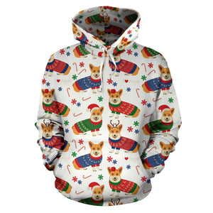 Corgi Christmas Pattern Men Women Pullover Hoodie