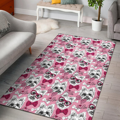 Yorkshire Terrier Pattern Print Design 03 Area Rug