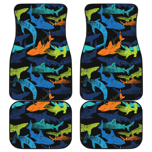 Colorful shark Front and Back Car Mats
