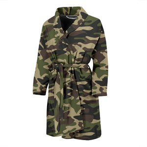 Dark Green Camo Camouflage Pattern Men'S Bathrobe