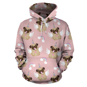 Cute Unicorn Pug Pattern Men Women Pullover Hoodie