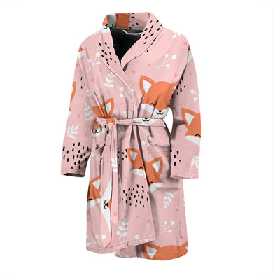 Cute Fox Pattern Pink Background Men'S Bathrobe