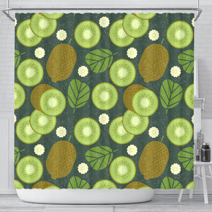 Whole sliced kiwi leave and flower Shower Curtain Fulfilled In US