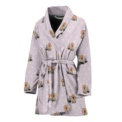 Yorkshire Terrier Pattern Print Design 02 Women's Bathrobe