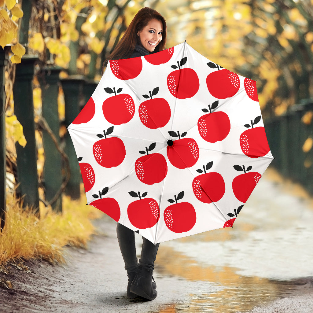 Red Apples White Background Umbrella