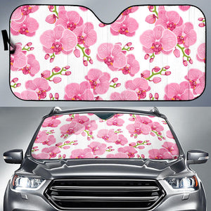pink purple orchid pattern background Car Sun Shade